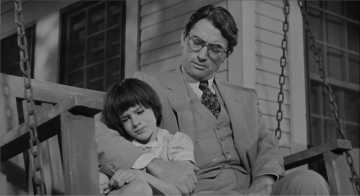 Atticus Finch with daughter, Scout.